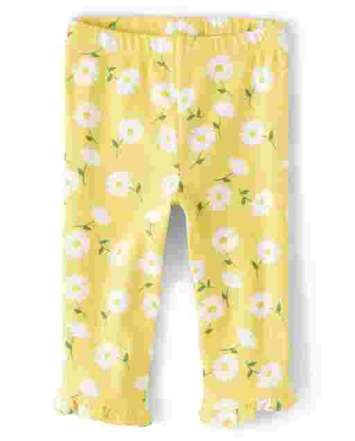 Girls Floral Print Ruffle Knit Capri Leggings - Sunny Daisies