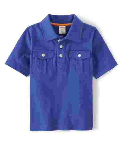 Boys Short Sleeve Pocket Jersey Polo - Summer Safari
