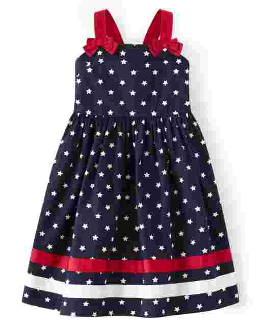 Girls Sleeveless Star Print Ribbon Poplin Dress - American Cutie