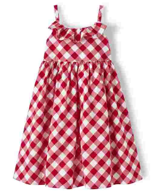 Girls Sleeveless Gingham Ruffle Poplin Dress - American Cutie