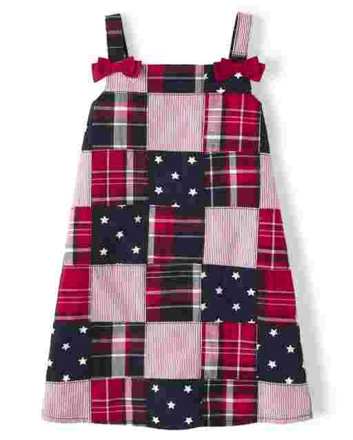 Girls Sleeveless Madras Poplin Shift Dress - American Cutie