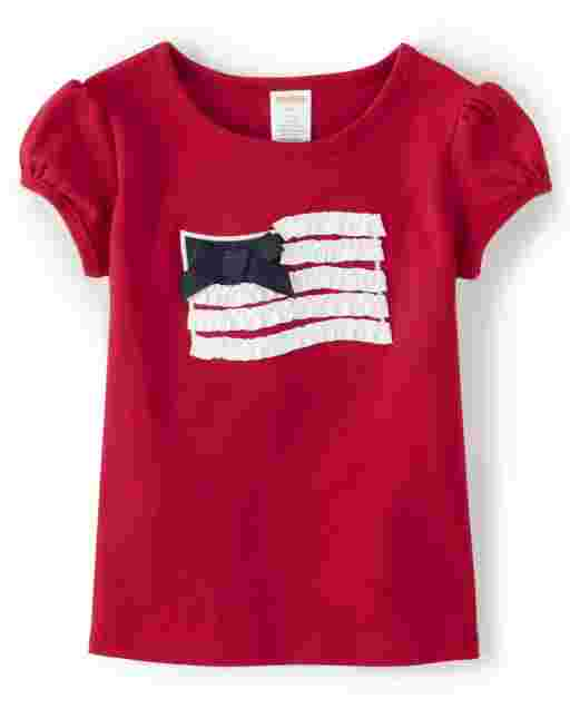 Girls Short Sleeve Ruffle And Bow American Flag Top - American Cutie