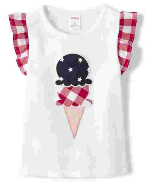 Girls Short Flutter Sleeve Embroidered Applique Star And Gingham Print Ice Cream Cone Top - American Cutie
