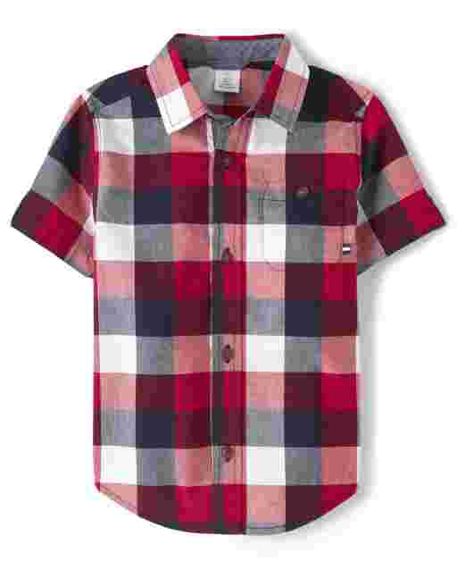 Boys Short Sleeve Plaid Poplin Button Up Shirt - American Cutie