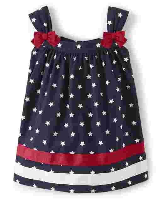 Girls Sleeveless Star Print Poplin Swing Top - American Cutie