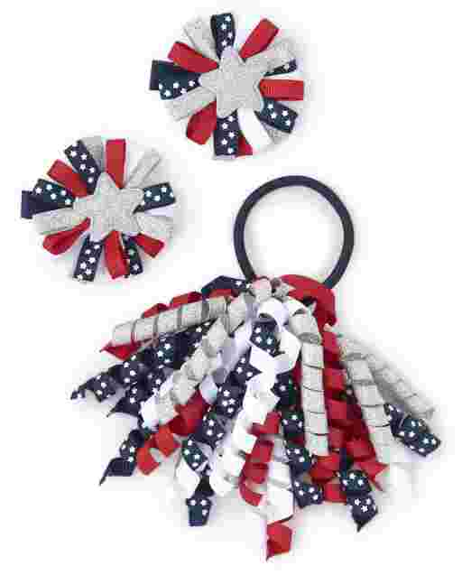 Girls Curly Hair Tie And Ribbon Hair Clip 3-Piece Hair Set - American Cutie