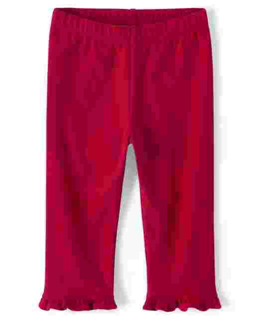 Girls Ruffle Knit Capri Leggings - American Cutie