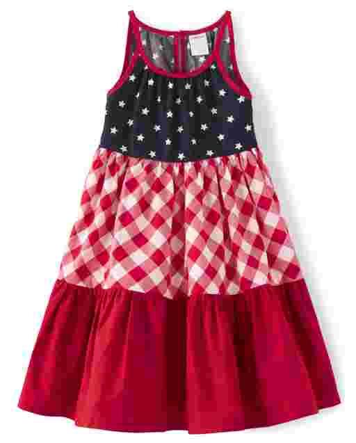 Girls Sleeveless Star And Gingham Print Poplin Tiered Dress - American Cutie