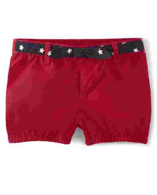 Girls Star Print Belted Poplin Pull On Shorts - American Cutie