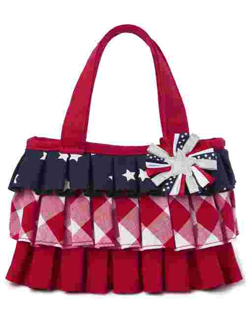 Girls Star And Gingham Print Ruffle Bag - American Cutie