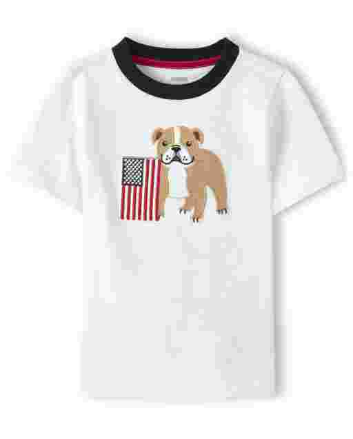 Boys Short Sleeve Embroidered Applique Bull Dog And American Flag Top - American Cutie