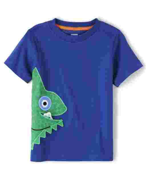 Boys Short Sleeve Embroidered Applique Chameleon Top - Summer Safari