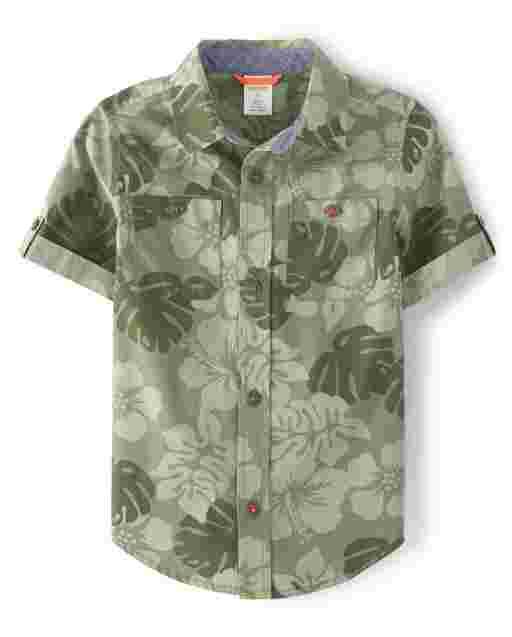 Boys Short Sleeve Jungle Print Button Up Shirt - Summer Safari