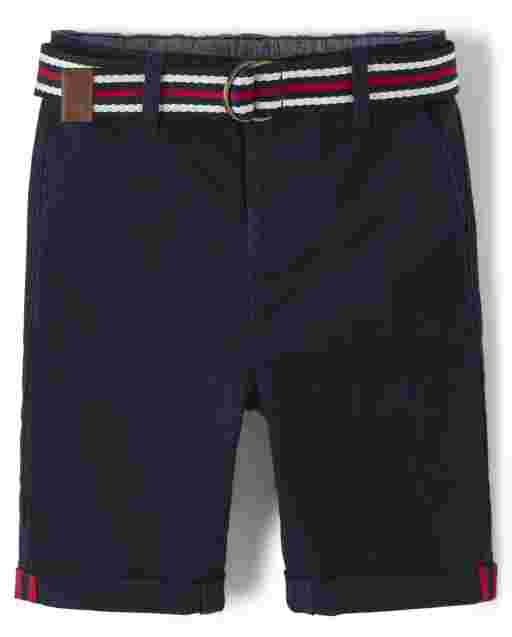 Boys Belted Woven Chino Shorts - American Cutie