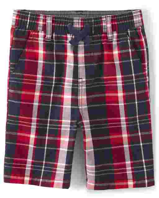 Boys Plaid Poplin Pull On Jogger Shorts - American Cutie
