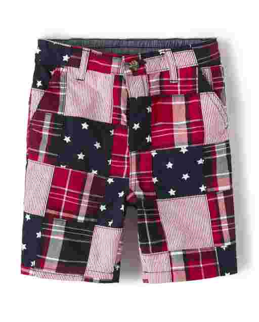 Boys Madras Woven Chino Shorts - American Cutie