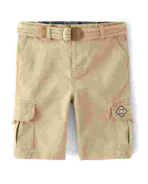 Boys Belted Woven Cargo Shorts - Summer Safari
