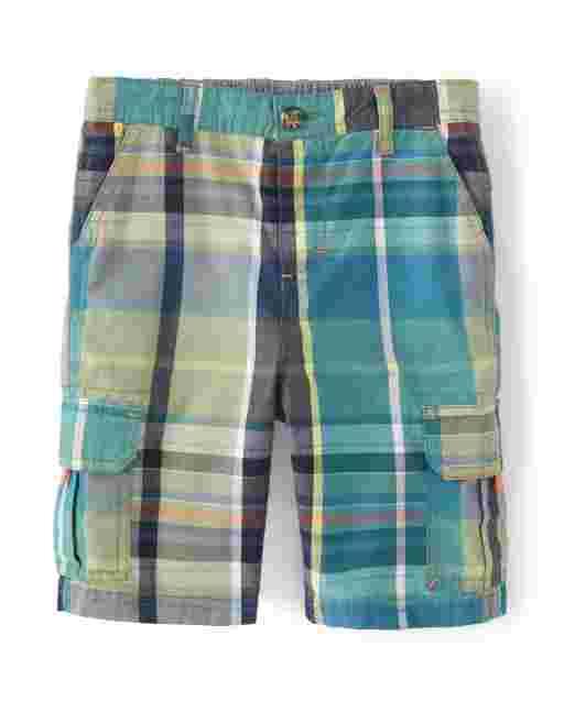 Boys Plaid Poplin Cargo Shorts - Summer Safari