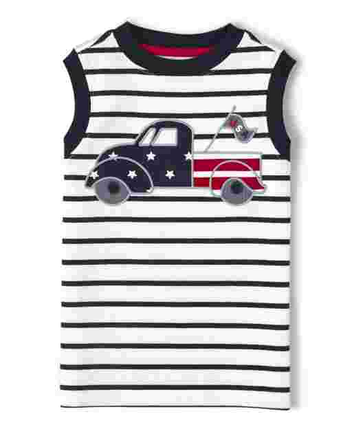 Boys Sleeveless Embroidered Applique Truck Striped Tank Top - American Cutie