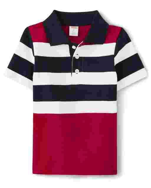 Boys Short Sleeve Striped Pique Polo - American Cutie