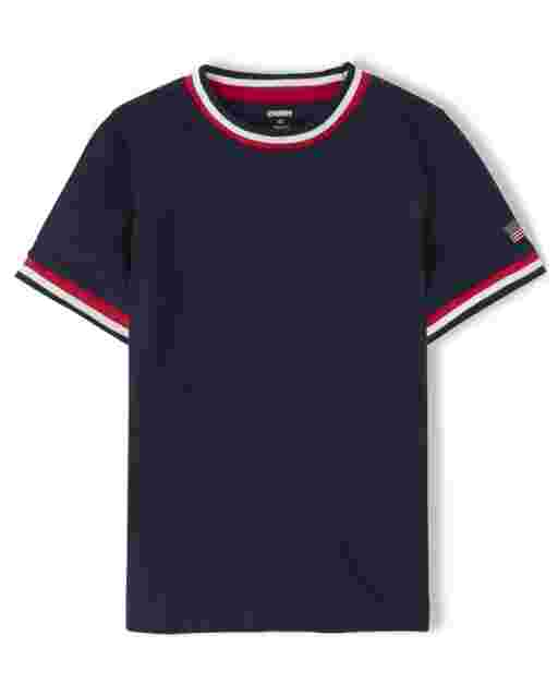 Boys Short Sleeve Tipped Top - American Cutie