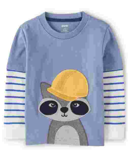 Boys Long Thermal Sleeve Embroidered Raccoon 2 In 1 Top - Demolition Dude