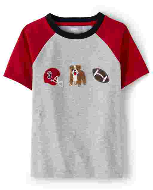 Boys Short Raglan Sleeve Football Dog Top - Preppy Puppy