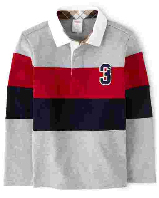 Boys Long Sleeve Striped Rugby Polo - Preppy Puppy