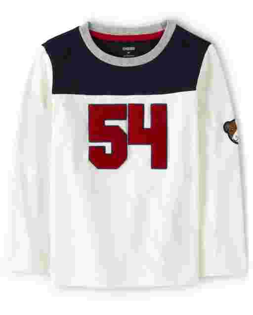 Boys Long Sleeve Embroidered '54' Applique Dog Top - Preppy Puppy