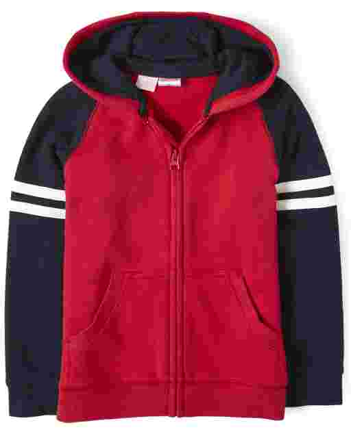 Boys Long Raglan Sleeve Zip Up Hoodie - Every Day Play