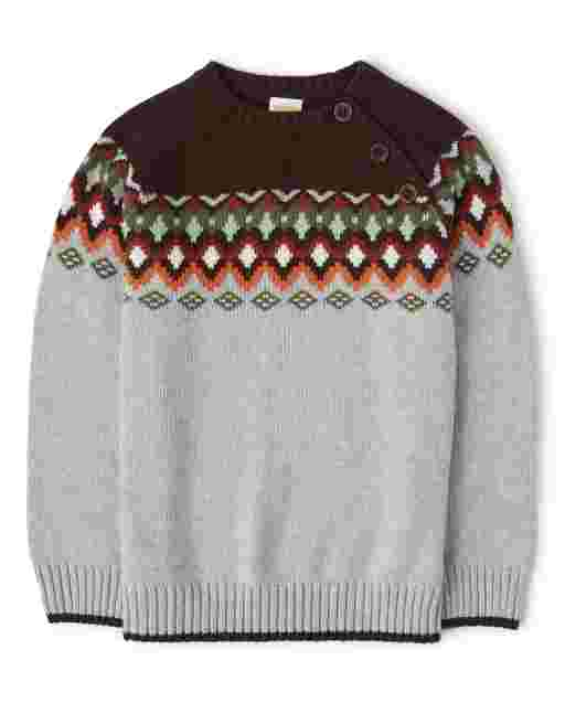 Boys Long Sleeve Fairisle Sweater - Harvest