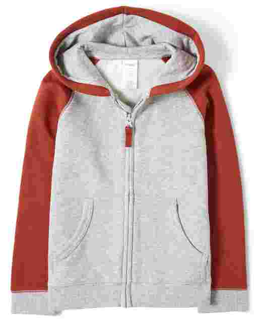 Boys Long Raglan Sleeve Fleece Zip Up Hoodie -Every Day Play