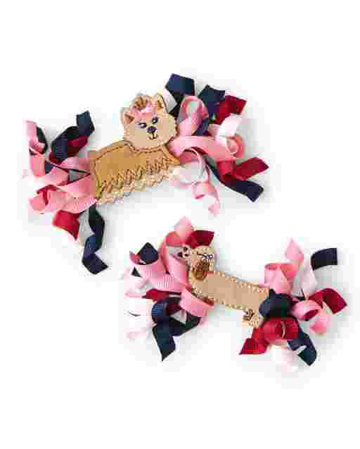 Girls Curly Hair Clip 2-Pack - Preppy Puppy