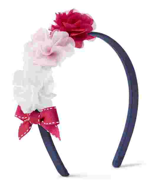 Girls Applique Flower Headband - Preppy Puppy