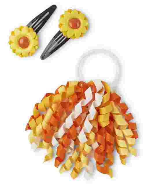Girls Sunflower Hair Clips And Curly Hair Tie 3-Piece Hair Set - Harvest