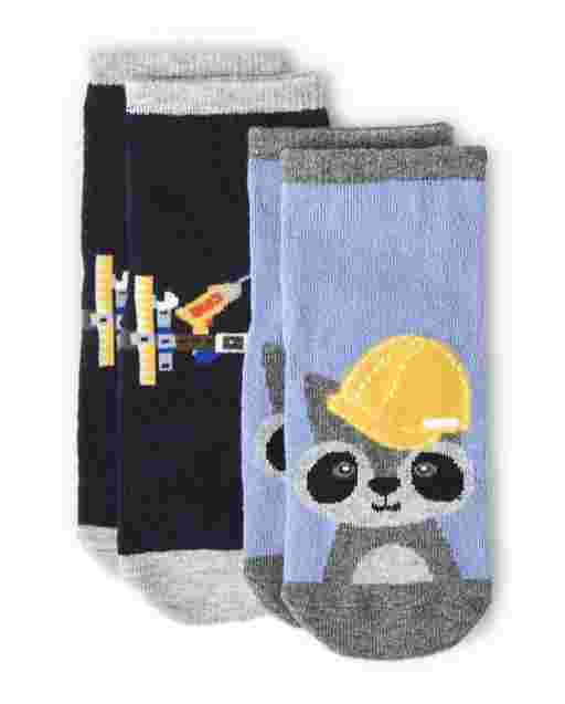 Boys Raccoon Midi Socks 2-Pack - Demolition Dude