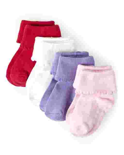 Paquete de 4 calcetines con puños giratorios para niñas - Juego diario