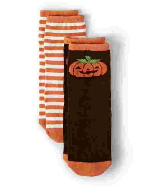 Boys Striped And Jack-O-Lantern Crew Socks 2-Pack - Harvest