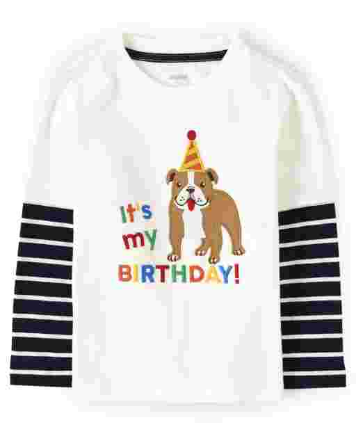Boys Long Thermal Striped Sleeve Embroidered Dog 2 In 1 Top - Birthday Boutique