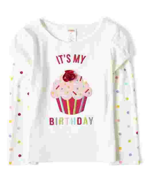 Girls Long Sleeve Embroidered Cupcake 2 In 1 Top - Birthday Boutique