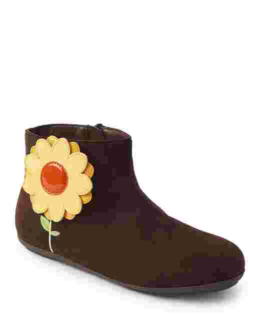 Girls Sunflower Faux Suede Booties - Harvest