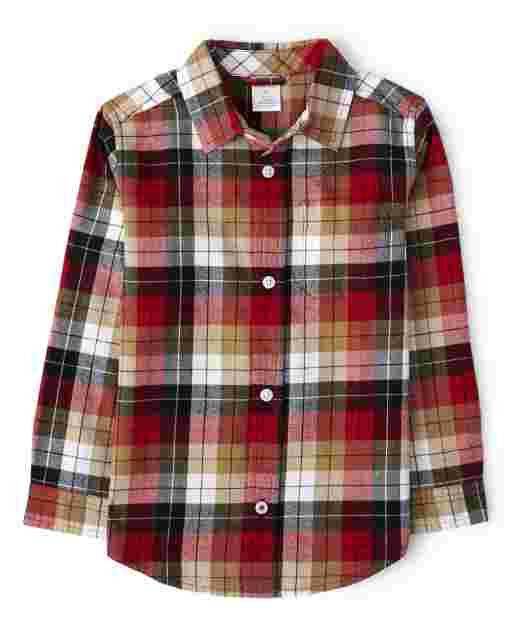 Boys Long Sleeve Plaid Twill Button Up Shirt - Preppy Puppy