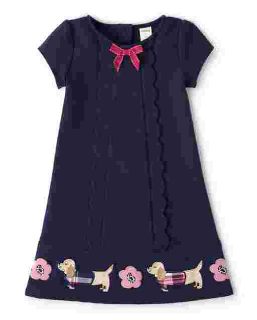 Girls Short Sleeve Embroidered Floral And Dog Scalloped Ponte Knit Dress - Preppy Puppy