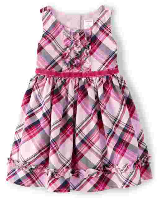 Girls Sleeveless Plaid Twill Dress - Preppy Puppy