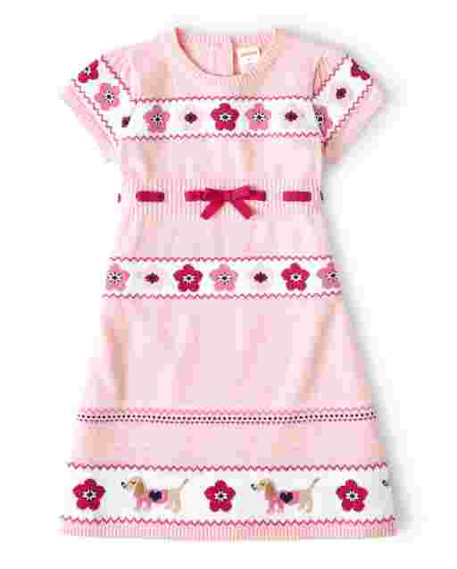 Girls Short Sleeve Floral And Dog Intarsia Sweater Dress - Preppy Puppy