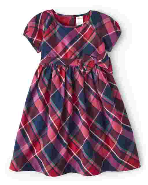 Girls Short Sleeve Plaid Twill Dress - Candy Apple
