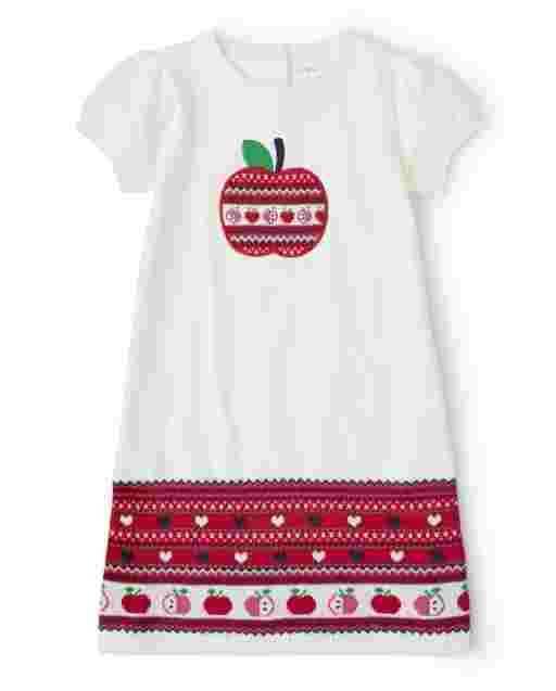 Girls Long Sleeve Fairisle Apple Sweater Dress - Candy Apple