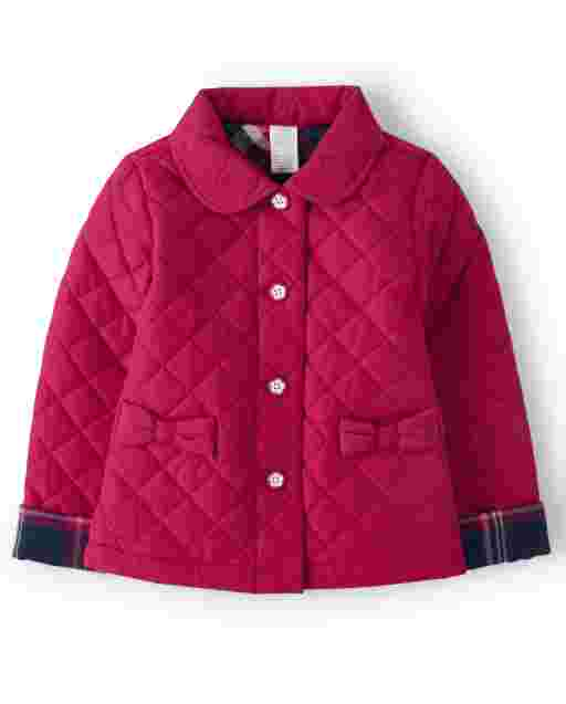 Girls Long Sleeve Bow Quilted Jacket - Preppy Puppy