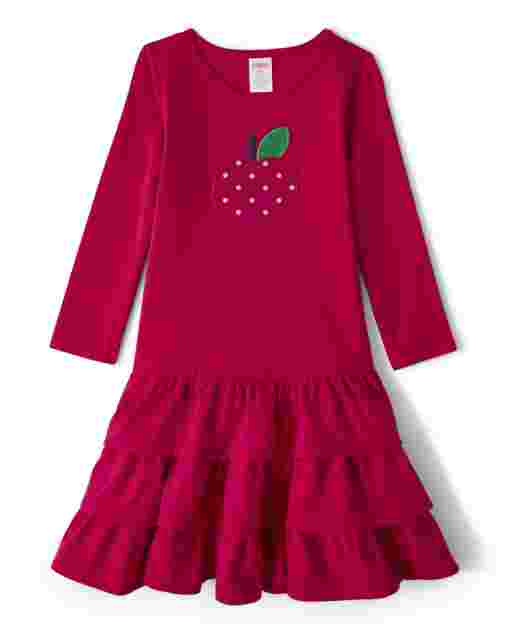 Girls Long Sleeve Embroidered Apple Knit Tiered Dress - Candy Apple