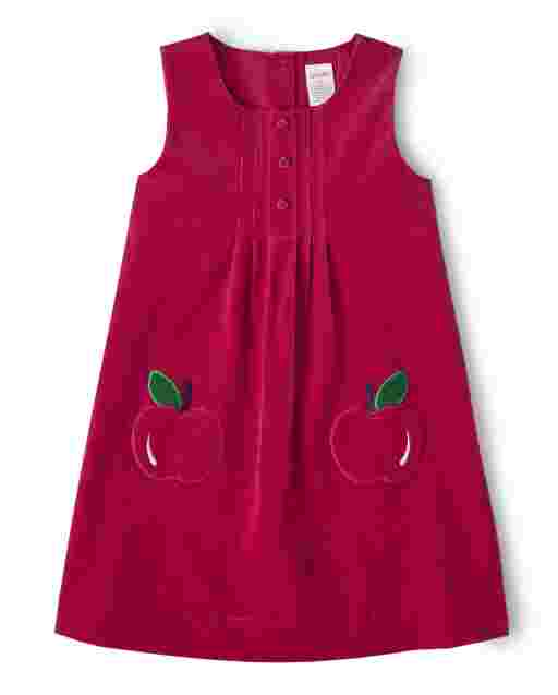 Girls Sleeveless Applique Apple Corduroy Jumper - Candy Apple